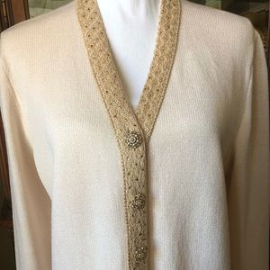 St John Evening Cardigan Gold Jeweled Buttons
